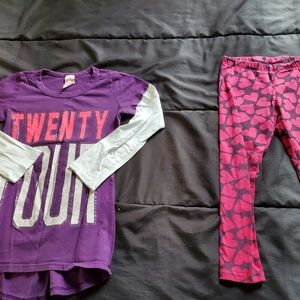 girls size heart leggings & top